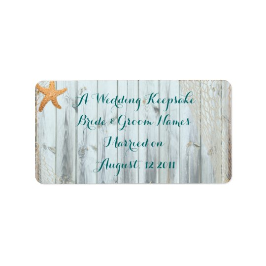 Rustic Beach Starfish Wedding Favour Lip Balm Tube Address Label
