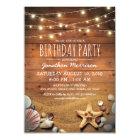 Rustic Beach Tropical Nautical Birthday Party Card