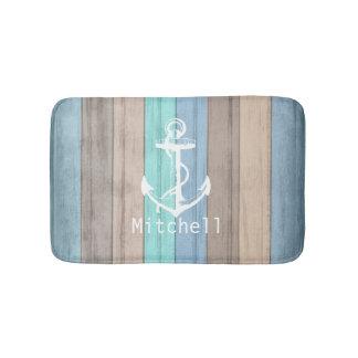 Rustic Beach Wood Nautical Stripes & Anchor Bath Mat
