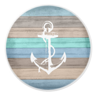 Rustic Beach Wood Nautical Stripes & Anchor Ceramic Knob