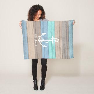 Rustic Beach Wood Nautical Stripes & Anchor Fleece Blanket