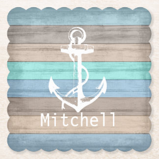 Rustic Beach Wood Nautical Stripes & Anchor Paper Coaster