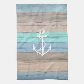 Rustic Beach Wood Nautical Stripes & Anchor Tea Towel