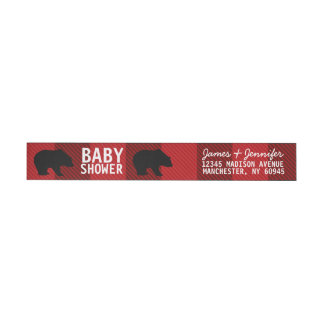 Rustic Bear Baby Shower Return Address Labels Wraparound Address Label