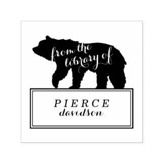 Rustic Bear Kids Monogrammed Bookplate Stamp
