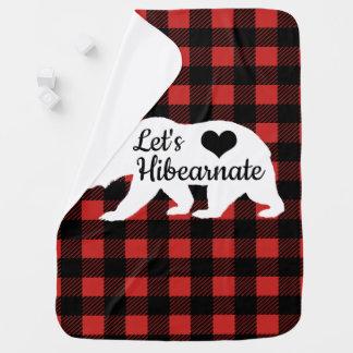 Rustic Bear Lumberjack Plaid Let's Hibearnate Baby Blanket