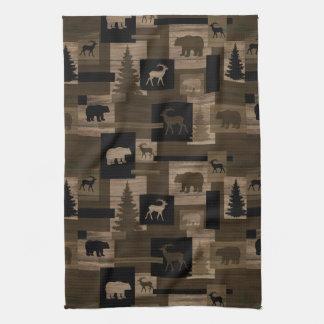 Rustic bear moose tree hand towel
