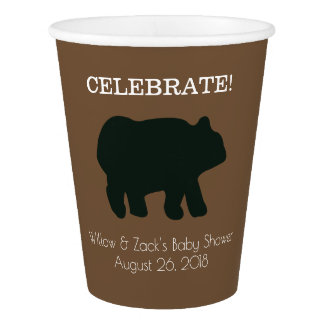 Rustic Bear Paper Cups (Brown)