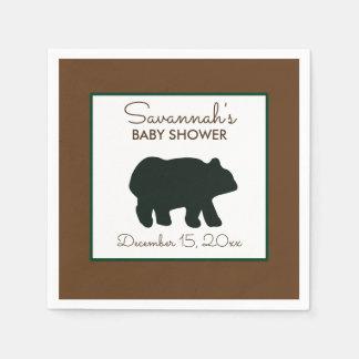 Rustic Bear Woodland Custom Napkin Disposable Napkins