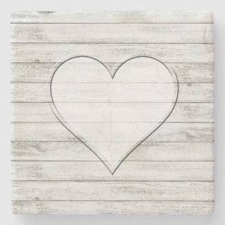 Rustic Beautiful Wood Texture Heart Stone Coaster