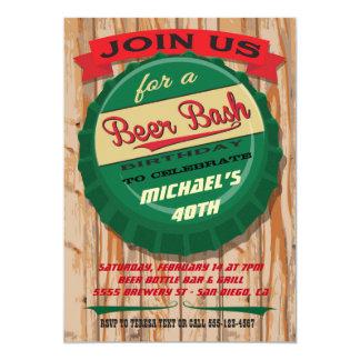 Rustic Beer Cap birthday milestone invitation