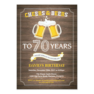 Rustic Beer Surprise 70th Birthday Invitation