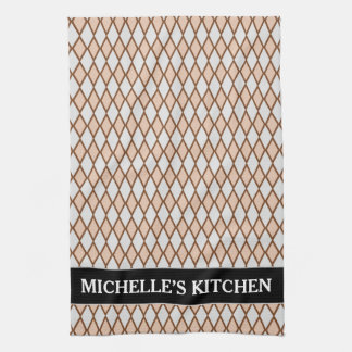 Rustic Beige and Gray Diamond Shape Pattern + Name Tea Towel