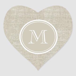 Rustic Beige Linen Background Monogram Heart Sticker