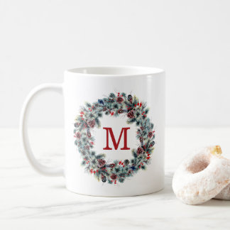Rustic Berries and Pine | Holiday Monogram Coffee Mug