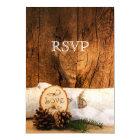 Rustic Birch Tree and Barn Wood Wedding RSVP Card