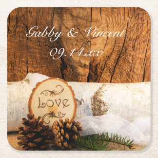 Rustic Birch Tree and Barn Wood Wedding Square Paper Coaster