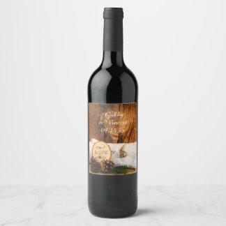 Rustic Birch Tree and Barn Wood Wedding Wine Label