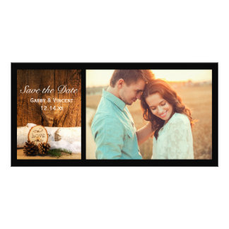Rustic Birch Tree Barn Wood Wedding Save the Date Photo Card Template
