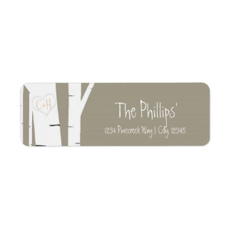 Rustic Birch Tree Carved Heart Address Labels