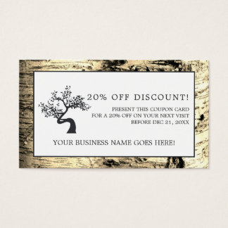Rustic Birch Tree, Coupon Voucher Business Card