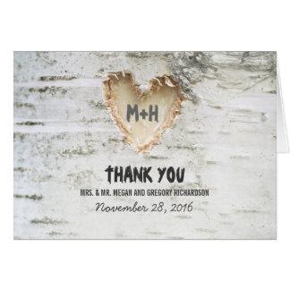 Rustic Birch Tree Heart Wedding Thank You Note Card