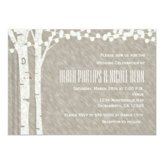 Rustic Birch Tree String Lights Wedding Invitation