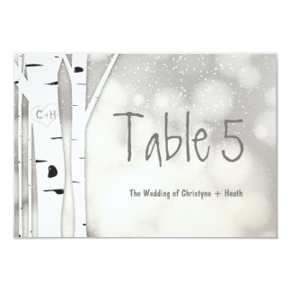 Rustic Birch Tree Winter Snowy Table Number Card
