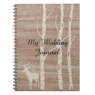Rustic Birch Trees and Deer Wedding Journal Note Books