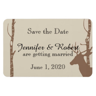 Rustic Birch Trees and Deer Wedding Save the Date Magnet