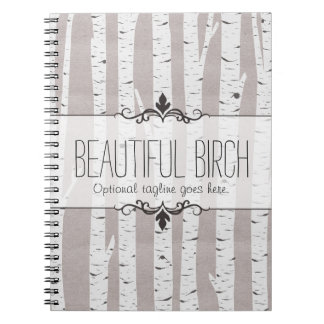 Rustic Birch Wood Trees & Branches Natural Modern Notebook