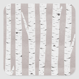 Rustic Birch Wood Trees & Branches Natural Modern Square Sticker
