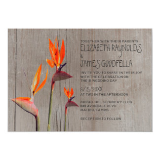 Rustic Bird of Paradise Wedding Invitations