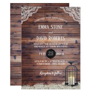 Rustic Birdcage Baby's Breath Floral Wedding Card