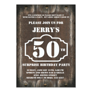 "Rustic Birthday Surprise Party Invitation for Man 5"" X 7"" Invitation Card"