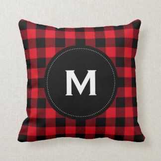 Rustic Black and Red Plaid Pattern Monogram Cushion