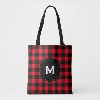 Rustic Black and Red Plaid Pattern Monogram Tote Bag