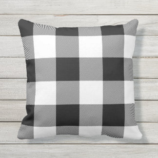 Rustic Black and White Buffalo Check Plaid Cushion