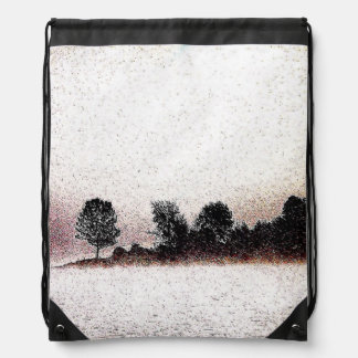 Rustic black and white trees in mist backpacks