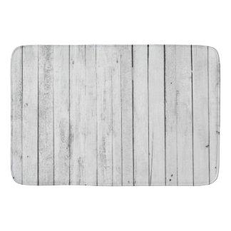 Rustic Black and White Wood Panel Farm Bath Mat