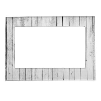 Rustic Black and White Wood Panel Farm Magnetic Picture Frame