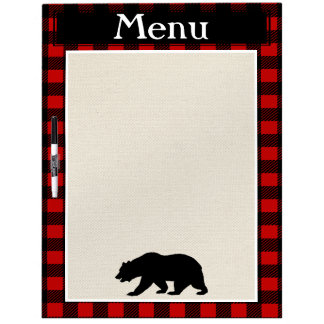 Rustic Black Bear & Buffalo Check Plaid Menu Dry-Erase Board