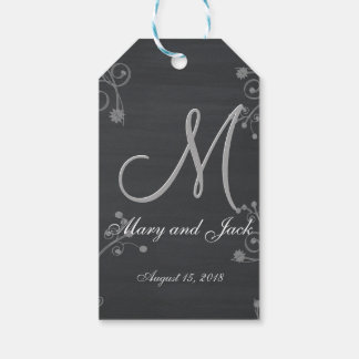 Rustic Black Chalk Chalkboard 3d Monogram Gift Tags