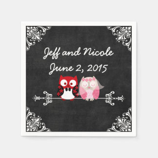 Rustic Black Chalkboard Owl Bride Groom Wedding Disposable Serviette