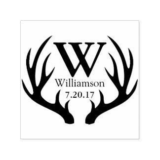 Rustic Black Deer Antlers Family Name Initial Self-inking Stamp