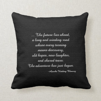 Rustic Black Faux Burlap Apache Wedding Blessing Throw Pillow