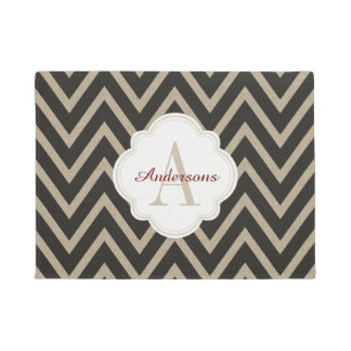Rustic Black Faux Burlap Chevron Pattern Doormat