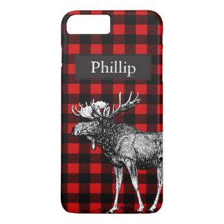 Rustic Black & Red Plaid Moose Custom Name iPhone 8 Plus/7 Plus Case