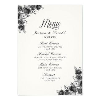 Rustic Black & White Country Barn Wedding Menu Card