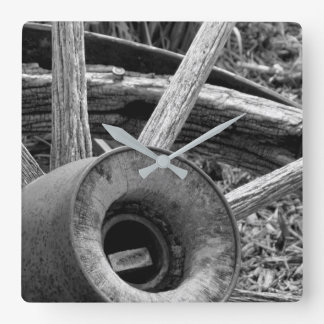 Rustic Black & White Wagon Wheel Wall Clock